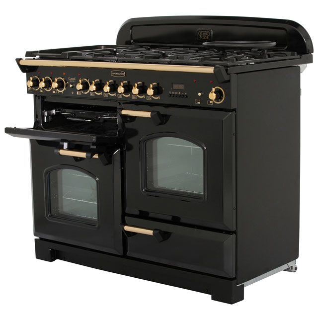 Rangemaster Classic Deluxe CDL110DFFBL/B 110cm Dual Fuel Range Cooker - Black / Brass - A/A Rated