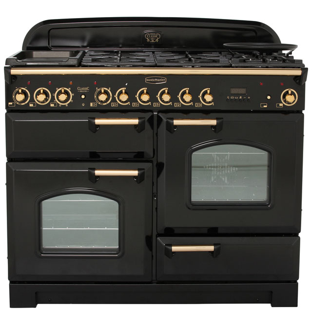 Rangemaster Classic Deluxe 110cm Dual Fuel Range Cooker - Black / Brass - A Rated