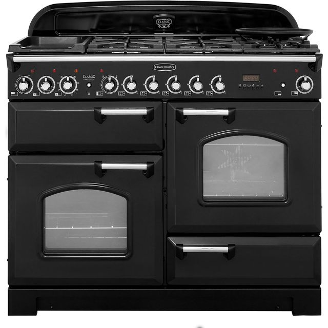 Rangemaster Classic Deluxe 110cm Dual Fuel Range Cooker - Black / Chrome - A Rated
