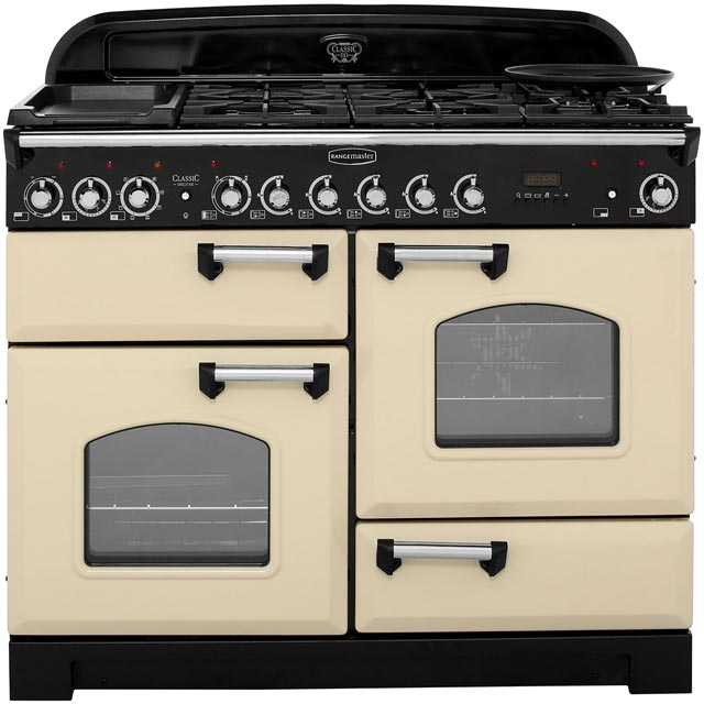 Rangemaster Classic Deluxe 110cm Dual Fuel Range Cooker - Cream / Chrome - A Rated