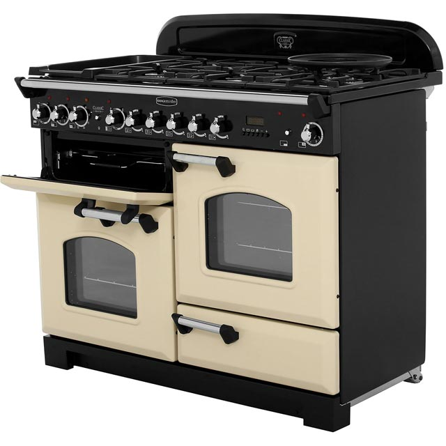 Rangemaster CDL110DFFCY/B Classic Deluxe 110cm Dual Fuel Range Cooker - Cranberry / Brass - CDL110DFFCY/B_CY - 2