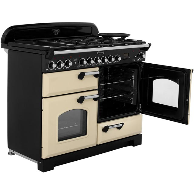 Rangemaster CDL110DFFCY/B Classic Deluxe 110cm Dual Fuel Range Cooker - Cranberry / Brass - CDL110DFFCY/B_CY - 4