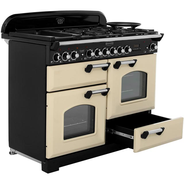 Rangemaster CDL110DFFCY/B Classic Deluxe 110cm Dual Fuel Range Cooker - Cranberry / Brass - CDL110DFFCY/B_CY - 5