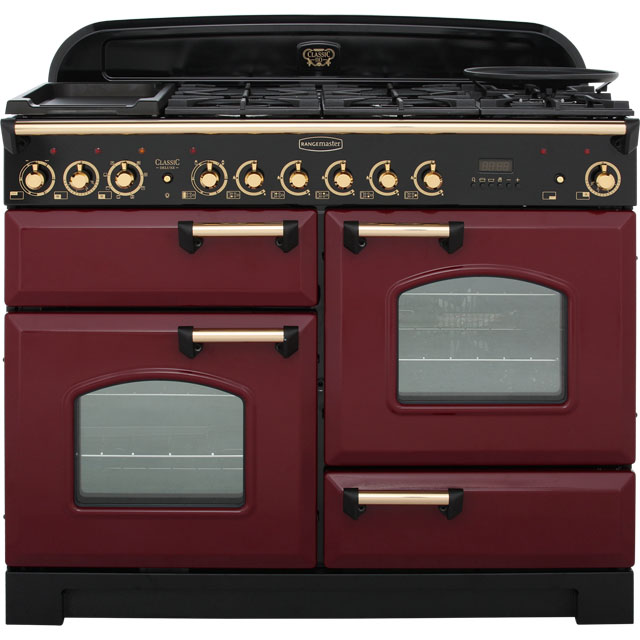 Rangemaster Classic Deluxe CDL110DFFCY/B 110cm Dual Fuel Range Cooker - Cranberry / Brass - A/A Rated - CDL110DFFCY/B_CY - 1