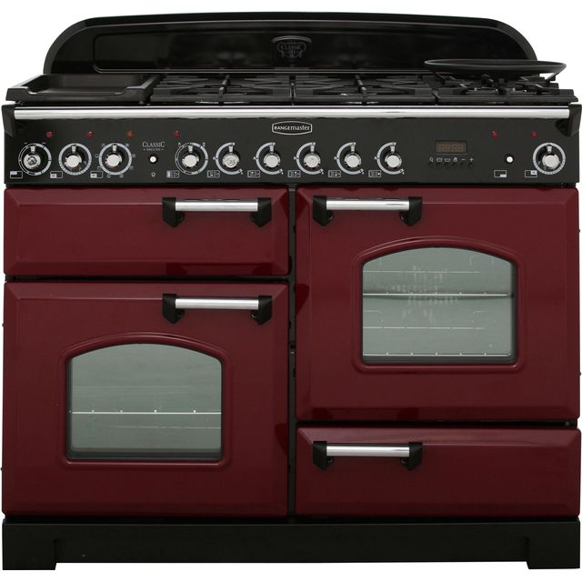 Rangemaster Classic Deluxe 110cm Dual Fuel Range Cooker - Cranberry / Chrome - A Rated
