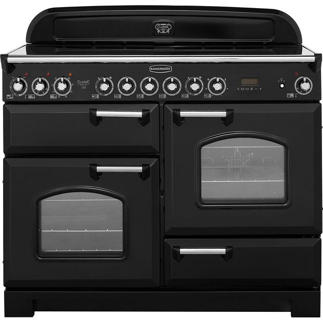 Rangemaster Classic Deluxe 110cm Electric Range Cooker with Ceramic Hob - Black / Chrome - A Rated