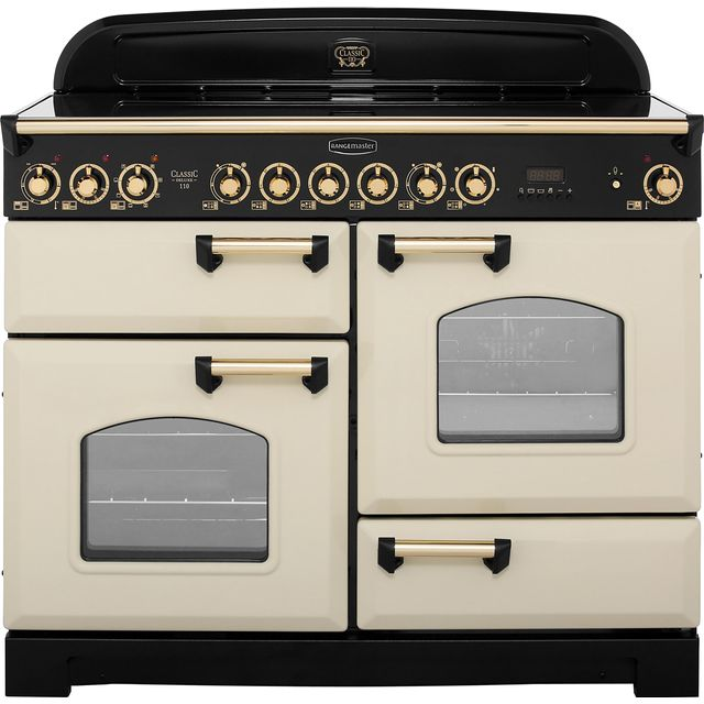 Rangemaster Classic Deluxe CDL110ECCR/B 110cm Electric Range Cooker with Ceramic Hob - Cream / Brass - A/A Rated - CDL110ECCR/B_CR - 1
