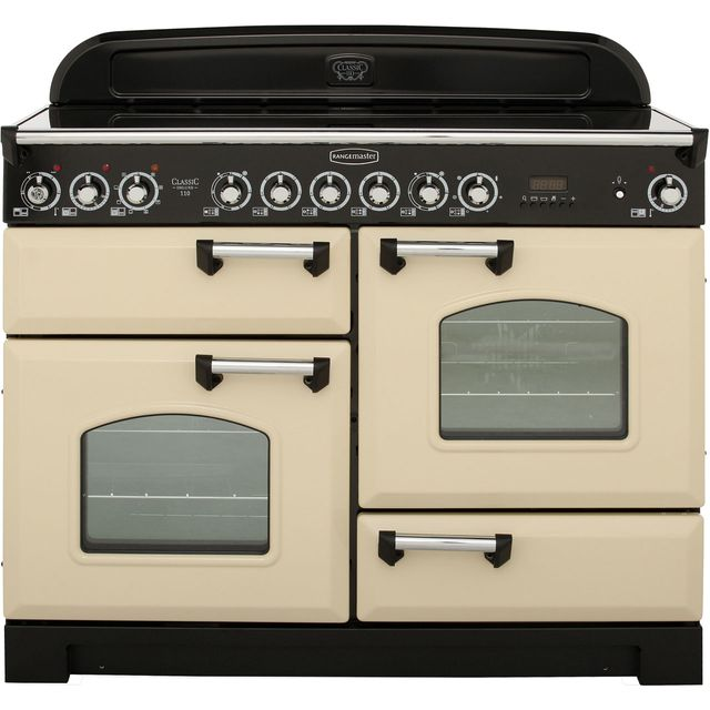 Rangemaster Classic Deluxe 110cm Electric Range Cooker with Ceramic Hob - Cream / Chrome - A Rated