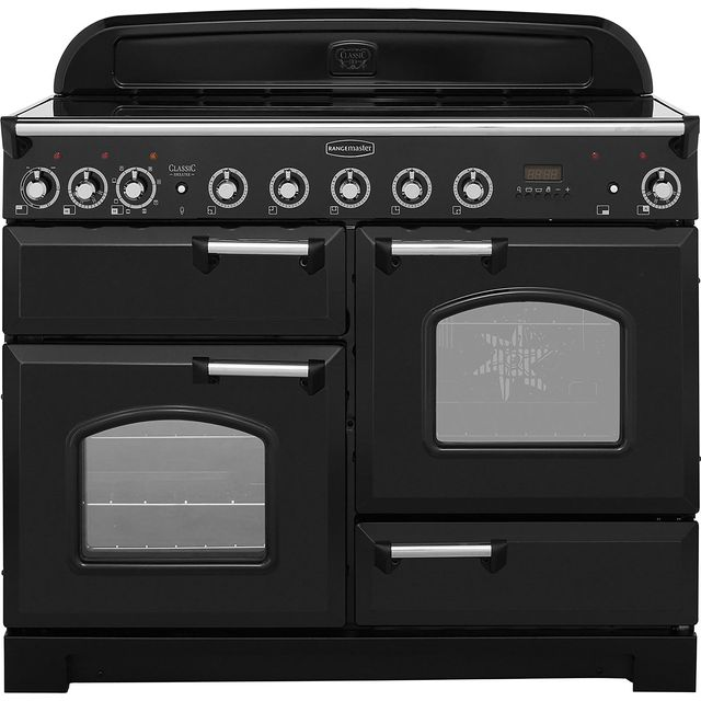 Rangemaster Classic Deluxe 110cm Electric Range Cooker with Induction Hob - Black / Chrome - A Rated