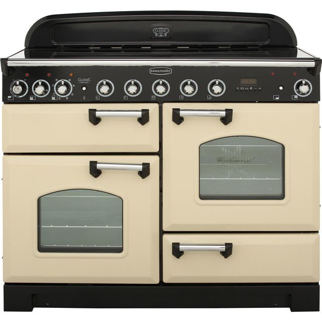 Rangemaster Classic Deluxe 110cm Electric Range Cooker with Induction Hob - Cream / Chrome - A Rated