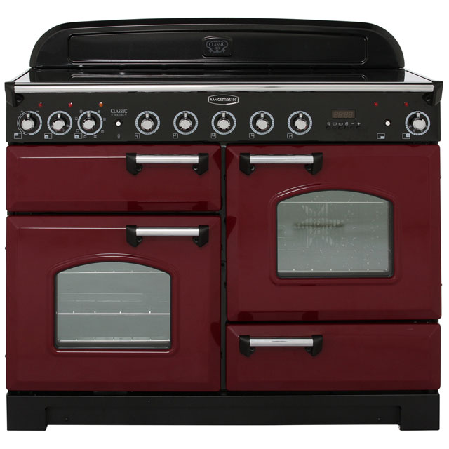 Rangemaster Classic Deluxe CDL110EICY/C 110cm Electric Range Cooker with Induction Hob - Cranberry / Chrome - A Rated