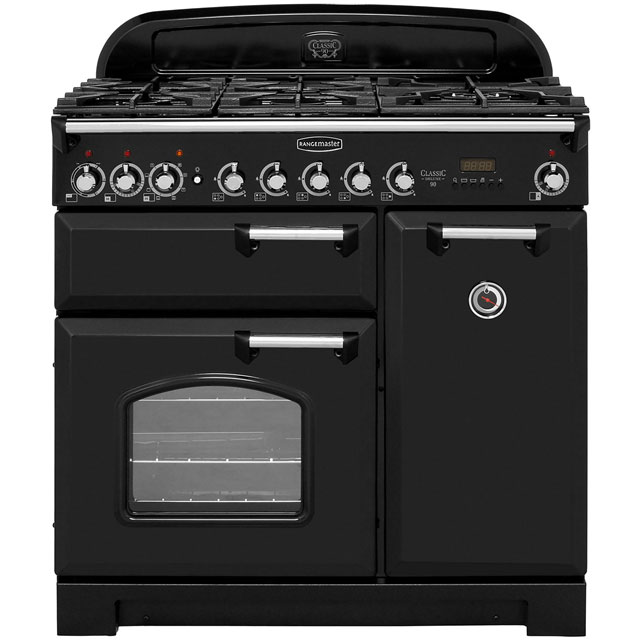 Rangemaster Classic Deluxe 90cm Dual Fuel Range Cooker - Black / Chrome - A Rated