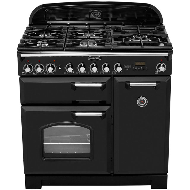 Rangemaster CDL90DFFCR/B Classic Deluxe 90cm Dual Fuel Range Cooker - Cream / Brass - CDL90DFFCR/B_CR - 5