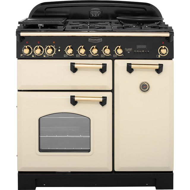 Rangemaster Classic Deluxe CDL90DFFCR/B 90cm Dual Fuel Range Cooker - Cream / Brass - A/A Rated - CDL90DFFCR/B_CR - 1