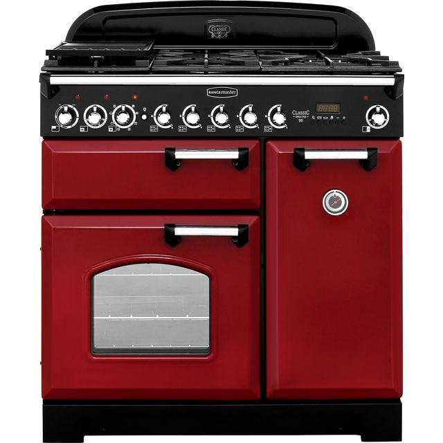 Rangemaster Classic Deluxe CDL90DFFCY/C 90cm Dual Fuel Range Cooker - Cranberry / Chrome - A/A Rated - CDL90DFFCY/C_CY - 1