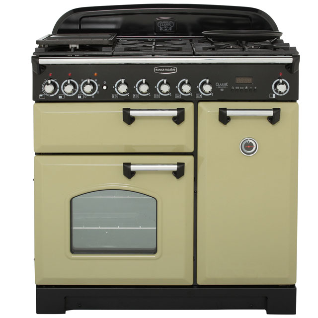 Rangemaster Classic Deluxe CDL90DFFOG/C 90cm Dual Fuel Range Cooker - Olive Green - A/A Rated - CDL90DFFOG/C_OG - 1