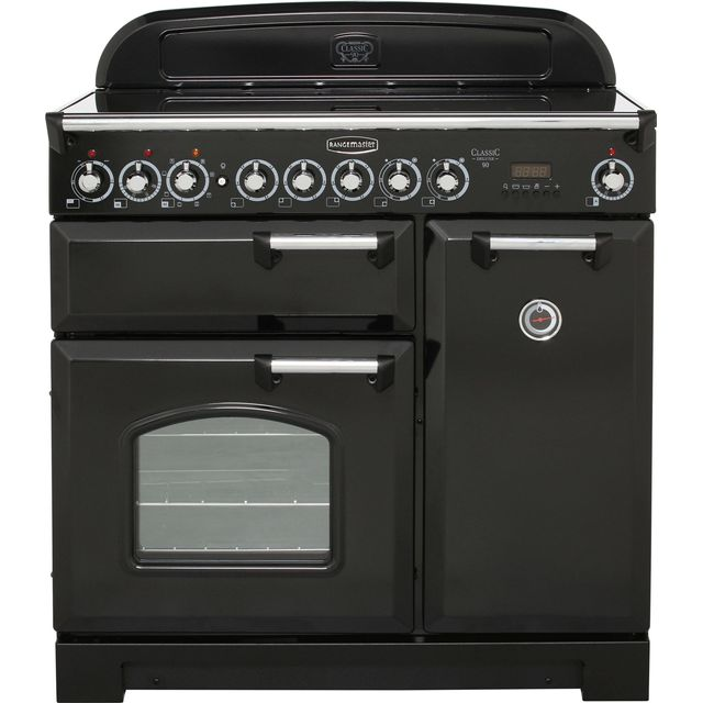 Rangemaster Classic Deluxe CDL90ECBL/C 90cm Electric Range Cooker with Ceramic Hob - Black / Chrome - A/A Rated