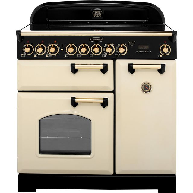 Rangemaster Classic Deluxe CDL90ECCR/B 90cm Electric Range Cooker with Ceramic Hob - Cream / Brass - A/A Rated - CDL90ECCR/B_CR - 1