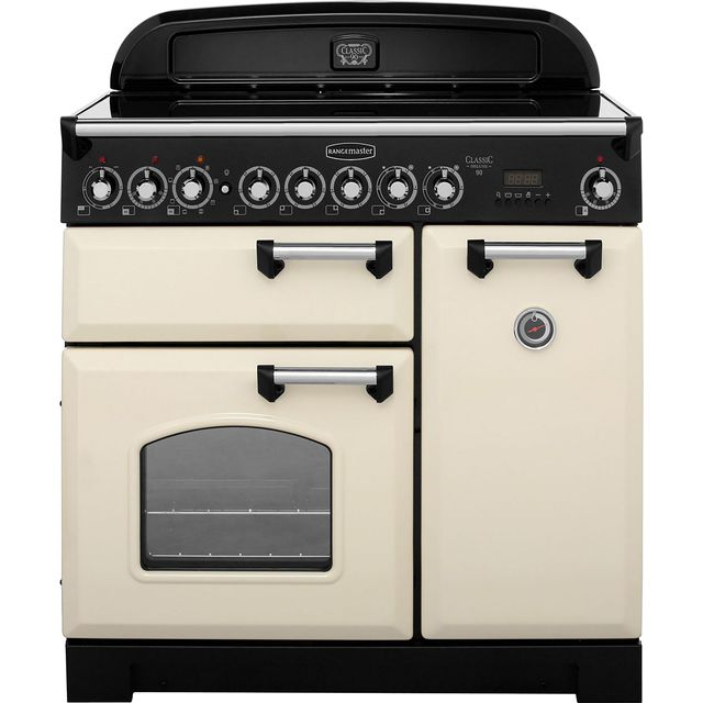 Rangemaster Classic Deluxe CDL90ECCR/C 90cm Electric Range Cooker with Ceramic Hob - Cream / Chrome - A/A Rated - CDL90ECCR/C_CR - 1