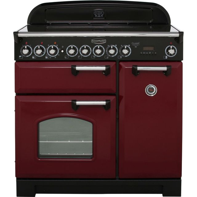 Rangemaster Classic Deluxe CDL90ECCY/C 90cm Electric Range Cooker with Ceramic Hob - Cranberry / Chrome - A/A Rated - CDL90ECCY/C_CY - 1