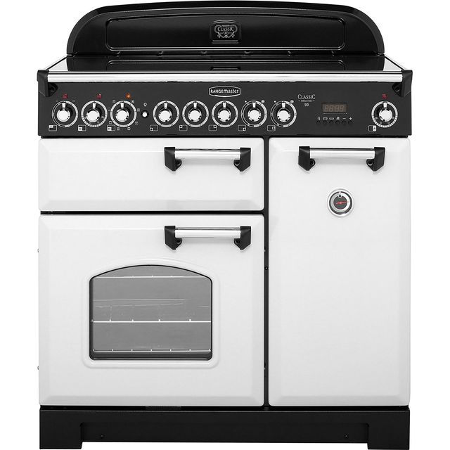 Rangemaster Classic Deluxe CDL90ECRP/C 90cm Electric Range Cooker with Ceramic Hob - Royal Pearl - A Rated