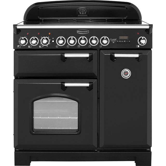 Rangemaster Classic Deluxe CDL90EIBL/C 90cm Electric Range Cooker with Induction Hob - Black / Chrome - A/A Rated