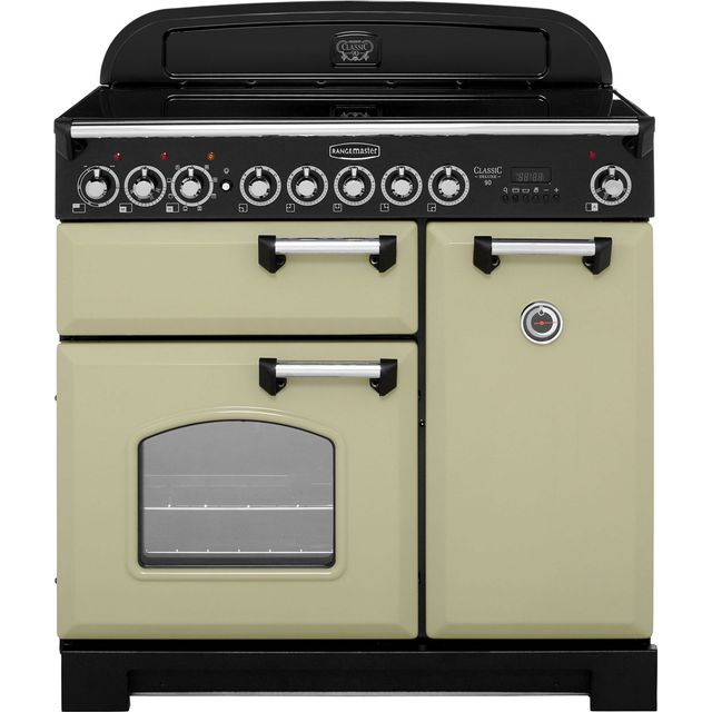 Rangemaster Classic Deluxe 90cm Electric Range Cooker with Induction Hob - Olive Green - A/A Rated