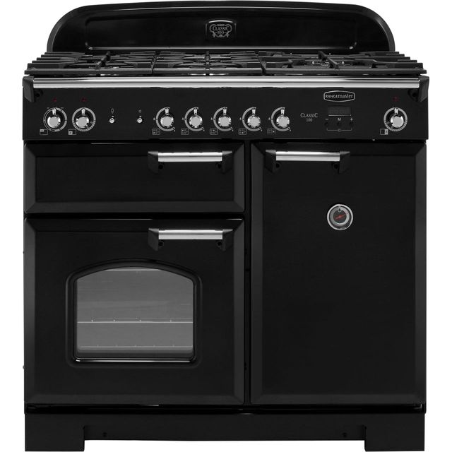 Rangemaster Classic CLA100DFFBL/C 100cm Dual Fuel Range Cooker - Black / Chrome - A/A Rated