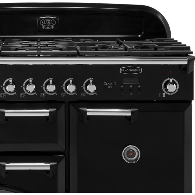 Rangemaster CLA100DFFCY/C Classic 100cm Dual Fuel Range Cooker - Cranberry / Chrome - CLA100DFFCY/C_CY - 3