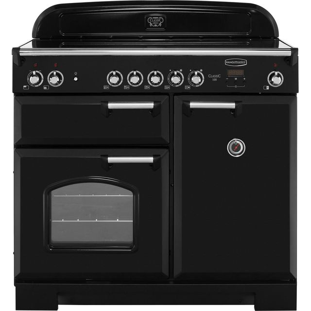 Rangemaster Classic CLA100ECBL/C 100cm Electric Range Cooker with Ceramic Hob - Black / Chrome - A/A Rated