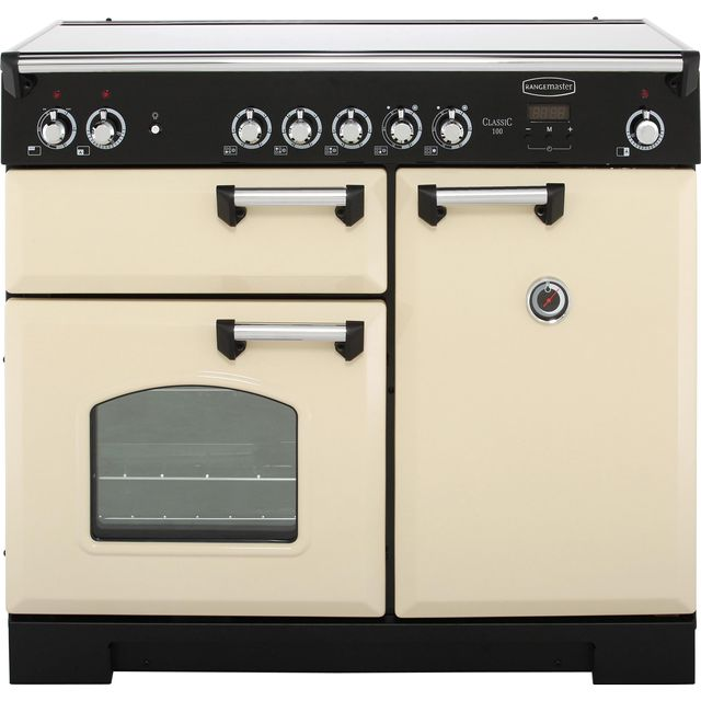 Rangemaster Classic CLA100ECCR/C 100cm Electric Range Cooker with Ceramic Hob - Cream / Chrome - A/A Rated