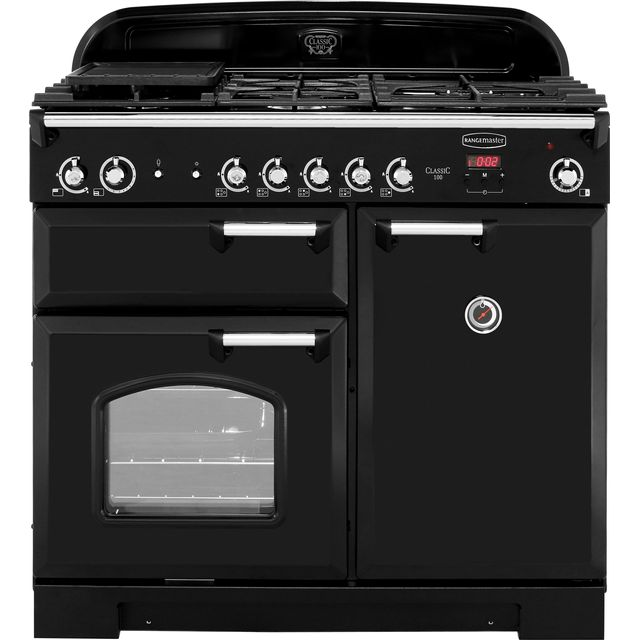 Rangemaster Classic CLA100NGFBL/C 100cm Gas Range Cooker with Electric Fan Oven - Black / Chrome - A+/A Rated - CLA100NGFBL/C_BK - 1