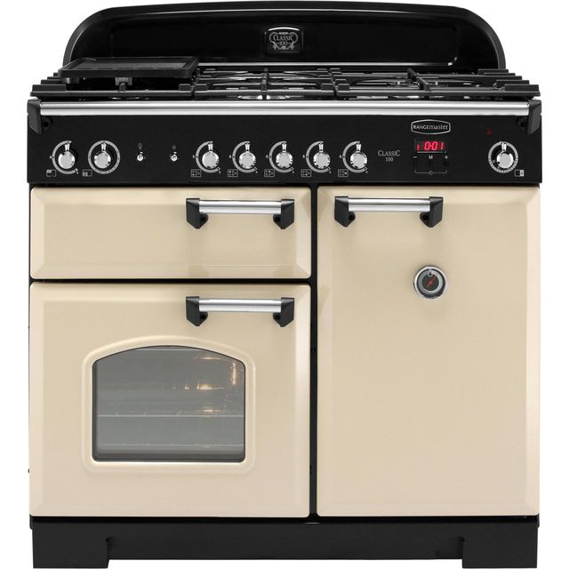 Rangemaster Classic CLA100NGFCR/C 100cm Gas Range Cooker with Electric Fan Oven - Cream / Chrome - A+/A Rated - CLA100NGFCR/C_CR - 1