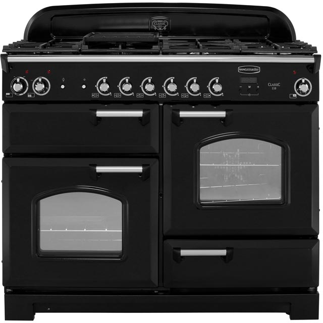 Rangemaster Classic 110cm Dual Fuel Range Cooker - Black / Chrome - A/A Rated