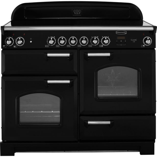 Rangemaster Classic 110cm Electric Range Cooker with Ceramic Hob - Black / Chrome - A/A Rated