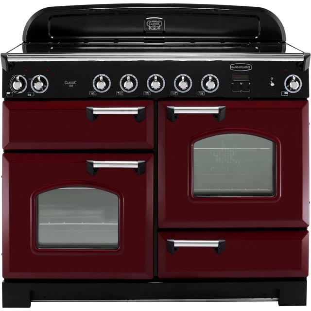 Rangemaster Classic 110cm Electric Range Cooker with Induction Hob - Cranberry / Chrome - A/A Rated