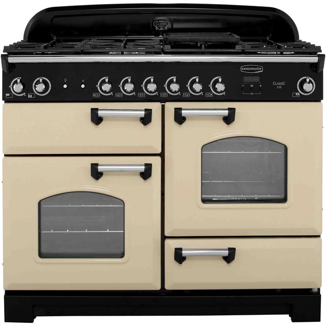Rangemaster Classic CLA110NGFCR/C 110cm Gas Range Cooker - Cream / Chrome - A+/A Rated - CLA110NGFCR/C_CR - 1