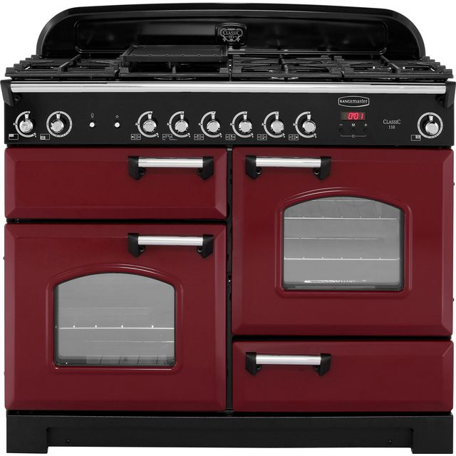 Rangemaster Classic CLA110NGFCY/C 110cm Gas Range Cooker - Cranberry / Chrome - A+/A Rated - CLA110NGFCY/C_CY - 1