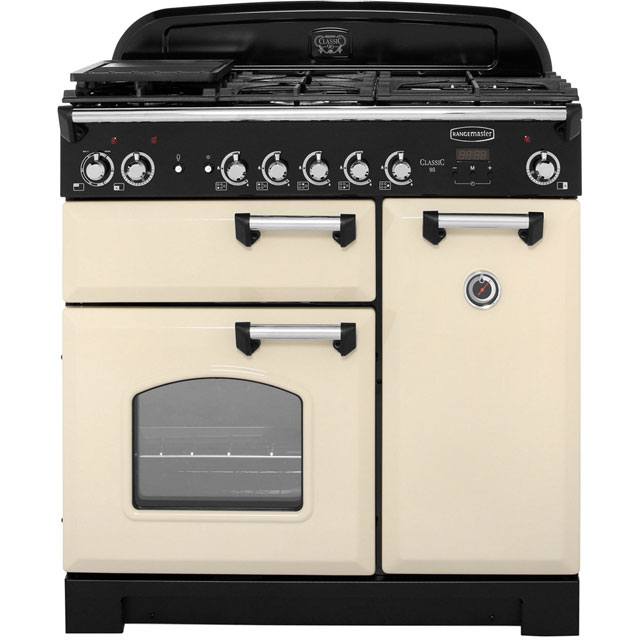 Rangemaster Classic CLA90DFFCR/C 90cm Dual Fuel Range Cooker - Cream / Chrome - A/A Rated - CLA90DFFCR/C_CR - 1