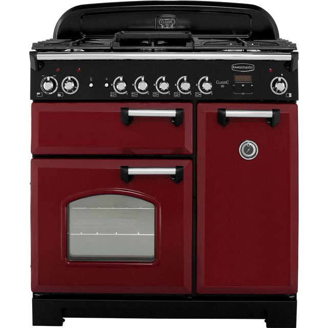 Rangemaster Classic CLA90DFFCY/C 90cm Dual Fuel Range Cooker - Cranberry / Chrome - A/A Rated - CLA90DFFCY/C_CY - 1