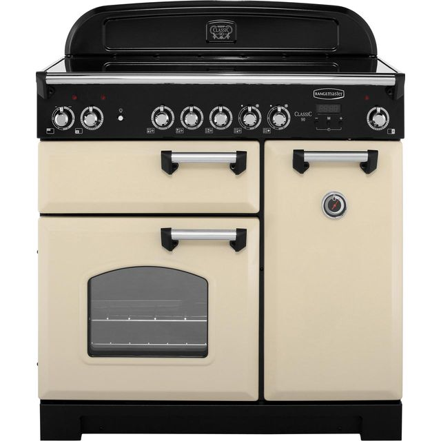 Rangemaster Classic 90cm Electric Range Cooker with Ceramic Hob - Cream / Chrome - A/A Rated
