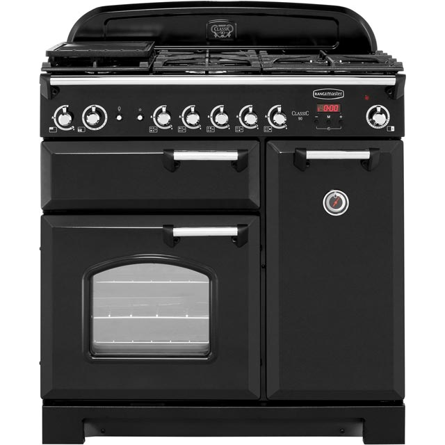 Rangemaster Classic CLA90NGFBL/C 90cm Gas Range Cooker with Electric Fan Oven - Black / Chrome - A+/A Rated - CLA90NGFBL/C_BK - 1