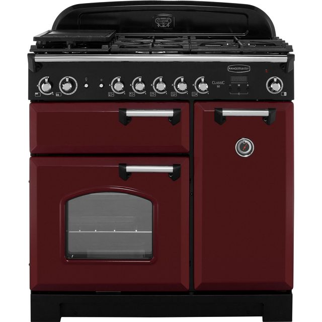 Rangemaster Classic CLA90NGFCY/C 90cm Gas Range Cooker with Electric Fan Oven - Cranberry / Chrome - A+/A Rated - CLA90NGFCY/C_CY - 1