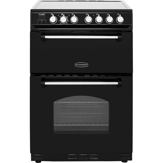 Rangemaster Classic 60 Electric Cooker with Ceramic Hob - Black / Chrome - A/B Rated
