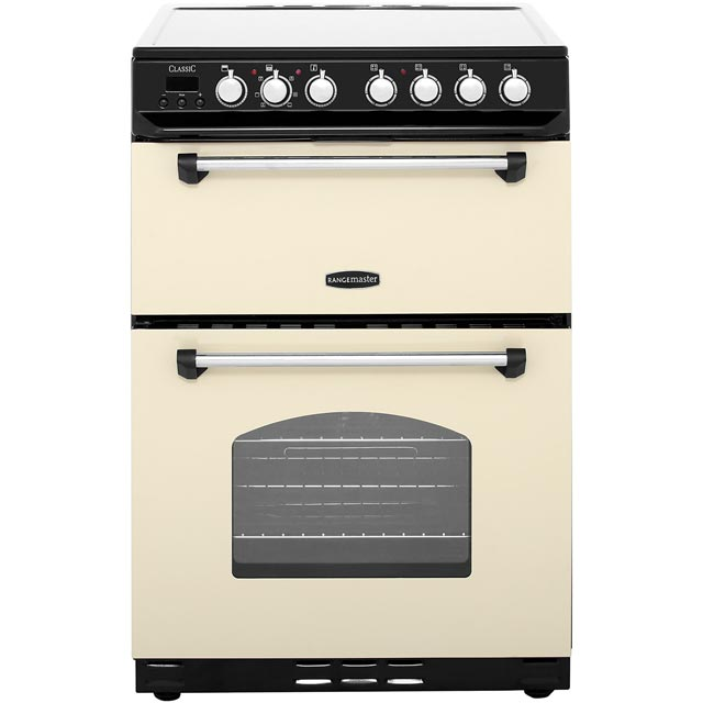 Rangemaster Classic 60 CLAS60ECCR/C 60cm Electric Cooker with Ceramic Hob - Cream / Chrome - A/B Rated - CLAS60ECCR/C_CR - 1