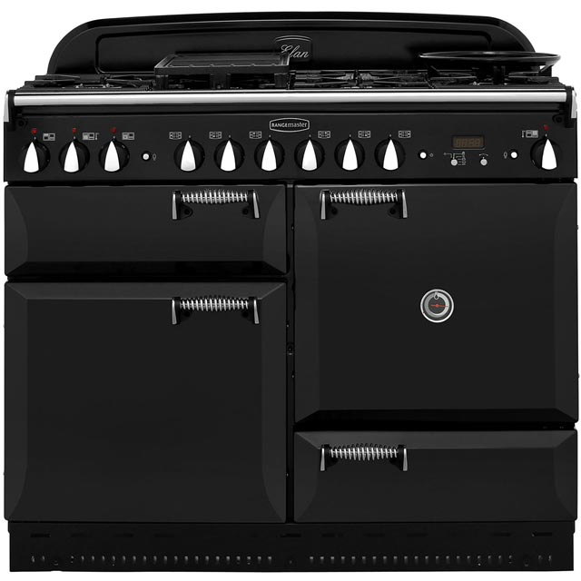 Rangemaster Elan ELAS110DFFBL 110cm Dual Fuel Range Cooker - Black / Chrome - A Rated