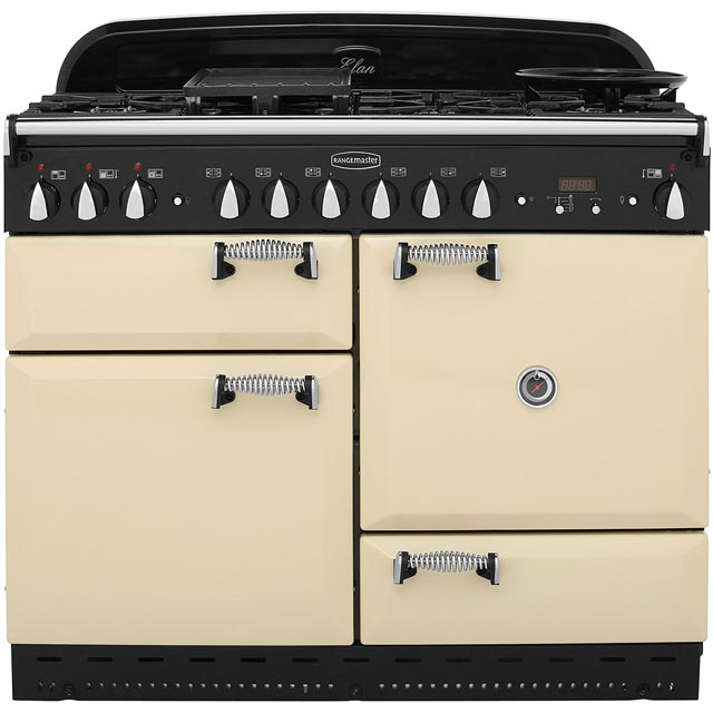Rangemaster Elan ELAS110DFFCR 110cm Dual Fuel Range Cooker - Cream / Chrome - A Rated