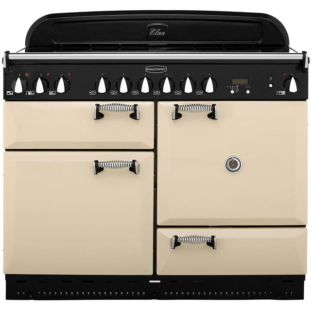 Rangemaster Elan 110cm Electric Range Cooker with Ceramic Hob - Cream / Chrome - A Rated