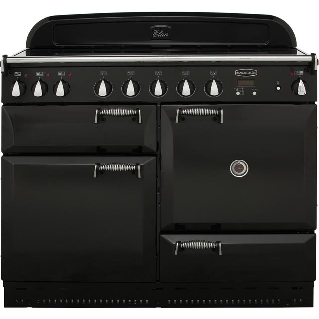 Rangemaster Elan 110cm Electric Range Cooker with Induction Hob - Black / Chrome - A Rated
