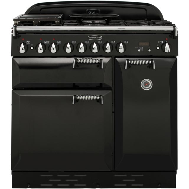 Rangemaster Elan 90cm Dual Fuel Range Cooker - Black - A Rated